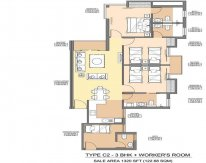 Aman1 - 1320 - SQ.FT - 3 Bedroom + Servant Room